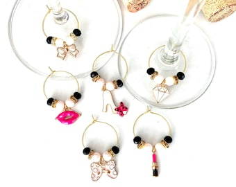 Makeup Wine Glass Charm Set | Couture Wine Charms | Gift for Her | Bachelorette Gifts | Teacher Gifts | Christmas Gifts | Set of 6