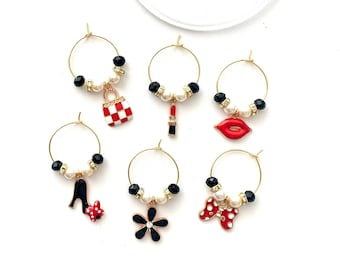 Luxury Wine Charms | Makeup Wine Charms | Wine Glass Charms | Gift for Her | Bridesmaid Gifts | Christmas Stockings Stuffers | Set of 6