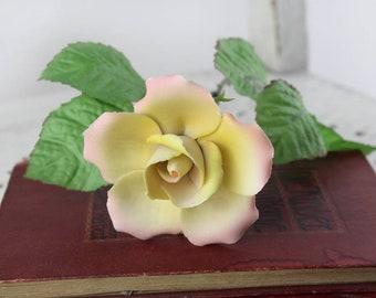 Vintage. Porcelain Stem-Rose Pink Rosebud Kämmer rare porcelain ceramic flowers