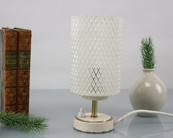 Vintage Lamps Table Lamp Desk Lamp 1970 Mid Century Glass Lampshade