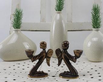 Vintage. 50s Guild Bronze Candle Holders Magnificent Angels Figures Candlesticks Decoration Vintage Shop Candle Holders Gold Color Bronze