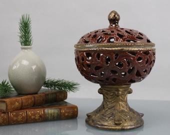 Vintage. Wonderful Ceramic Jar with Lid Container Vintage Magnificent Ceramic Handcraft Cutwork Pattern