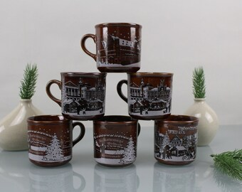 Mulled Wine Cups Set 6 Pieces Ceramic Porcelain Cups German Christmas Markets Cups Brown Cups