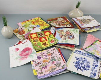 Vintage paper napkins collection 174 pieces 50s 60s 70s 80s collection Beautiful motifs paper crafts
