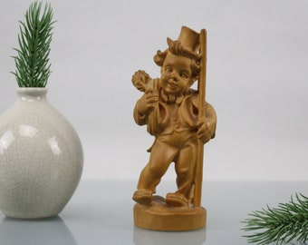 Vintage chimney sweep beautiful precious wood handcraft from the 50s wood carving handcraft wood figures