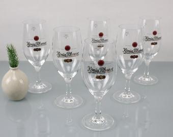 Vintage. 5 pieces of König Pilsener beer glasses Pils glasses of German beer 0.4 liters