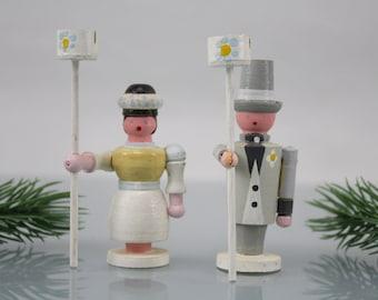 Vintage. Wooden art Erzgebirge figures note holder wedding decoration handcraft 60s wood decoration couple figures cake figure