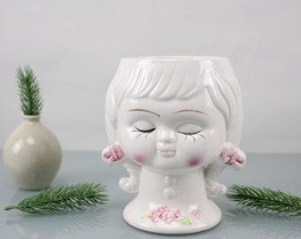 Vintage. Face flower planter ceramic flowerpot handmade unusual design home decor 70s made in Italy
