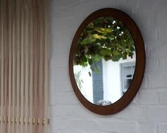 Vintage. 70s wall mirror, vintage mirror, mid-century, cloakroom mirror, teak wood, round mirror, mid-century