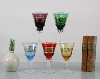 Vintage Real Gold Rim Design Set of 5 Glasses Crystal Glass Very Rare Design Glasses West German Handwork Colorful Glasses
