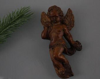 Vintage 20s Antique Ceramic Angel-Art Deco Angel-Head with Wings Beautiful Detail Handcraft to hang and represent Guardian Angel