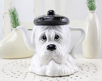 Vintage teapot dog porcelain Black and white dog porcelain Very rare!