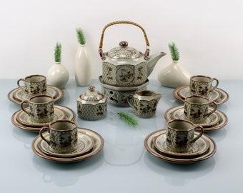 Vintage. Stone ceramic porcelain set 22 parts for 6 people tea service set 70s coffee service