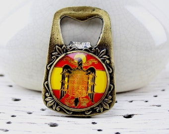Bottle opener beautifully handcrafted from high quality material Mid Century 60s american vintage sale spain flag