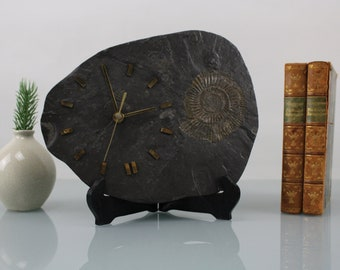 Vintage Fossils Clock Stone Clock Mid Century Office and Fireplace Junghans Clock Golden Color Brass Trilobites Fossils Ammonite Petrified