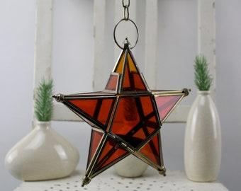 Vintage. Star lantern - star candlestick - tealight lantern orange colored glass tealight holder starlight