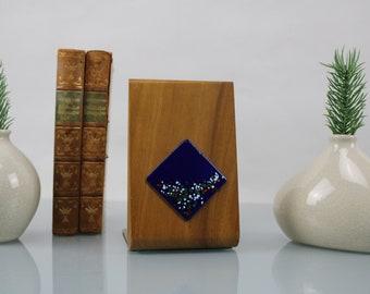 Mid Century Bookend Teak Wood with Enamel Emblem Vintage Design Handcraft