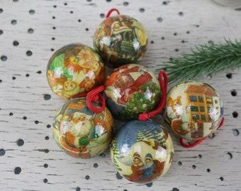 Vintage. 5 pcs christmas tree balls decoration christmas balls christmas decoration fir tree ornament vintage paper balls
