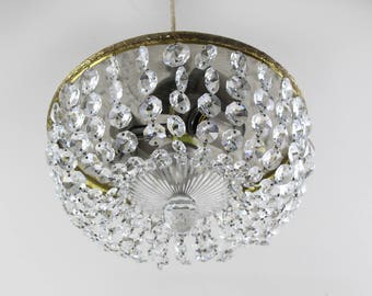 Plafoniere Kristall Groß : 40er jahre plafoniere antik deckenlampe kristall lampe etsy