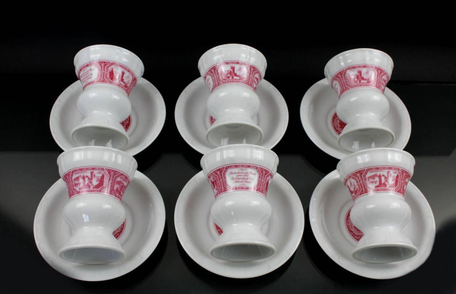 Set 24 Piece Rüdesheimer cup Heinrich porcelain saucer Pharisees coffee mug Asbach Ruedesheim Villeroy and Boch