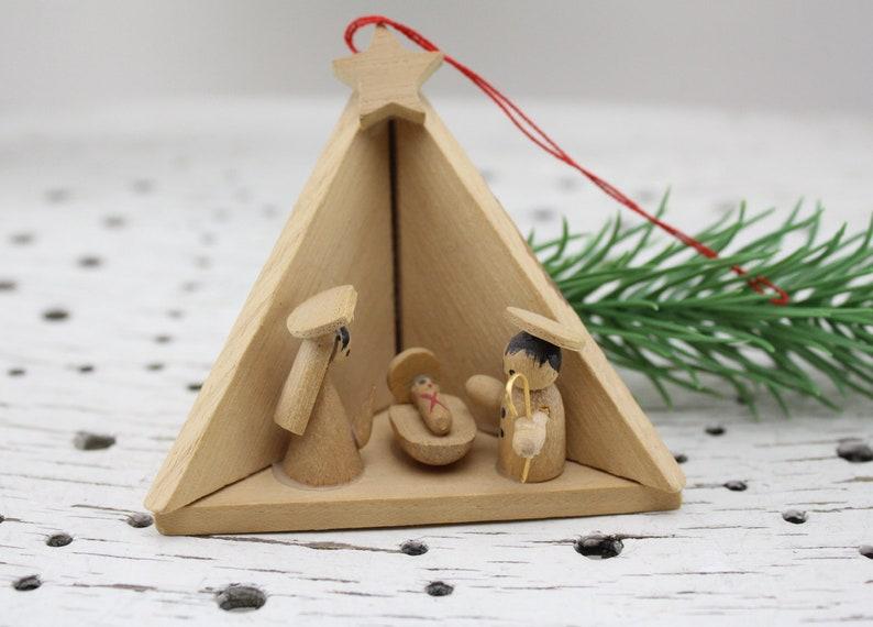 Vintage  Wooden Erzgebirgischer type miniature crib decoration   Etsy