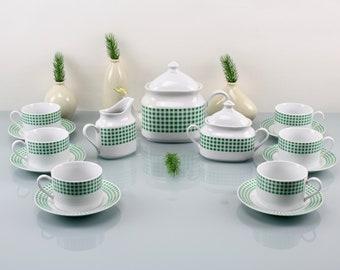 Vintage. Fine porcelain set 15 pieces for 6 people Precious 50s porcelain set green white rockabilly vintage shop coffee tableware