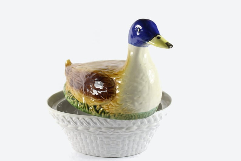 Vintage duck ceramic bowl with lid Made in Germany candy dish image 0