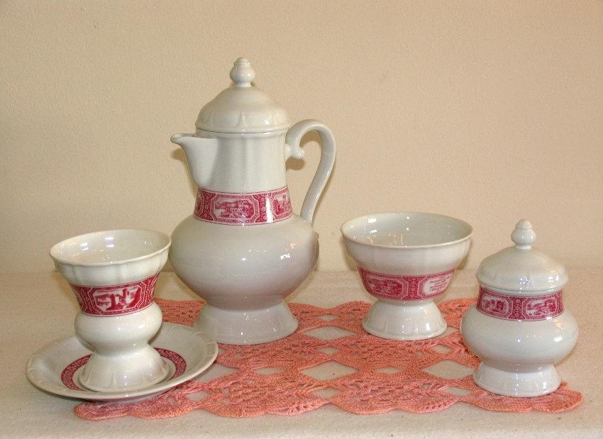 Vintage. Rüdesheimer set sugar bowl serving bowl mug saucer Heinrich porcelain coffee mug Asbach Uralt Rüdesheim