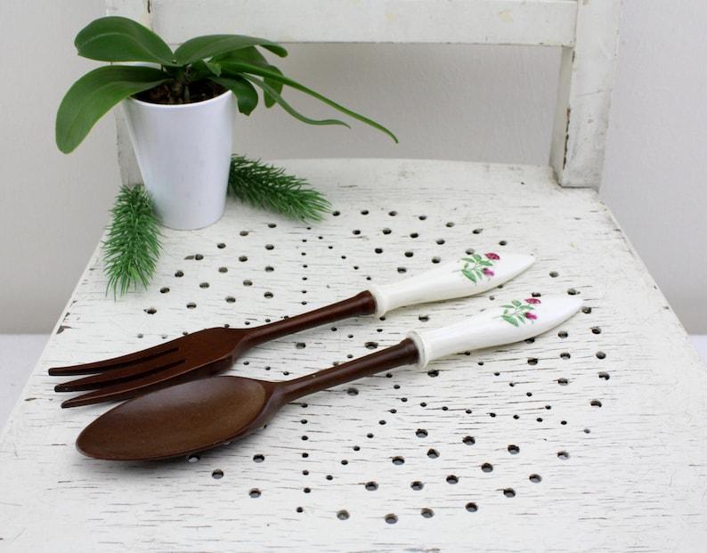 Vintage Salad cutlery Set of porcelain and precious precious wood HOSTESS server set four piece set