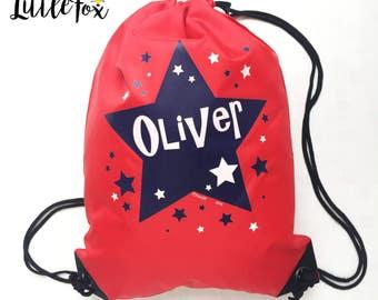 NEW Stars RedColoured Large childrens drawstring bag FREE POSTAGE