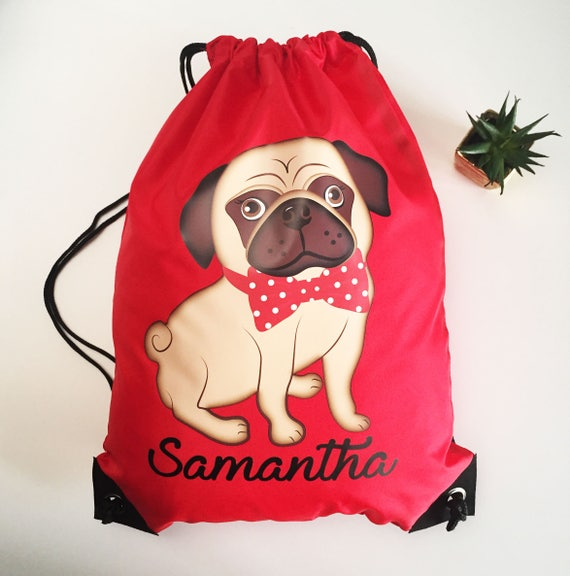 1f916f7def71 Personalised Pug Dog Red Swimming P E Bag School Water