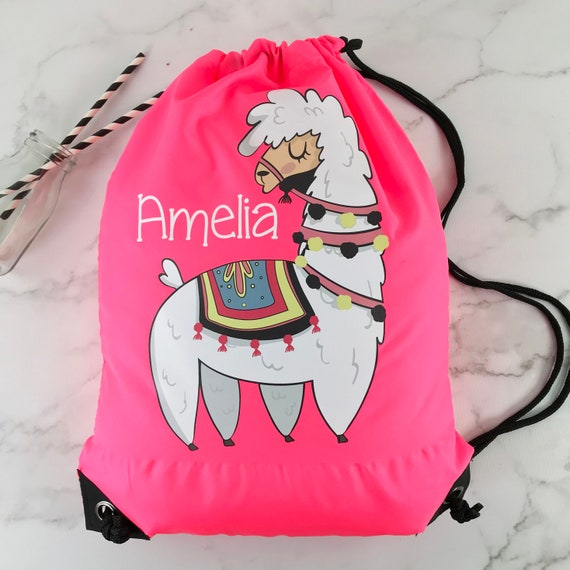 a5d7a217e310 Personalised PE Swimming Llama on Fluorescent Pink Bag Free
