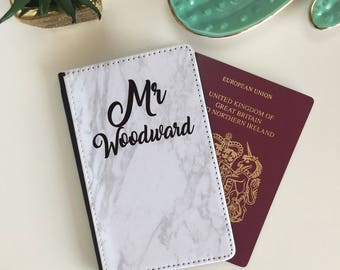 Personalised Pair of Couples Marble Rose Gold Lettering Passport Cover Wallet for Travel