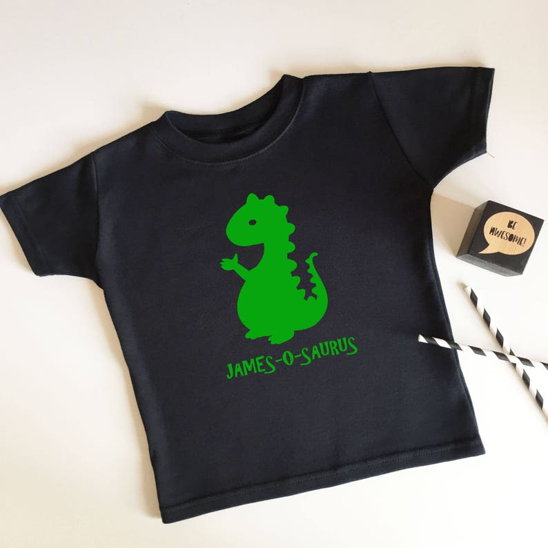 6d7a3a0e5 Personalised Dinosaur Kids T-shirt Name Gifts for Children   Etsy