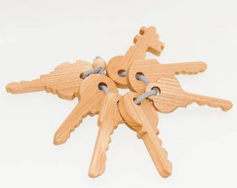Set wooden keys for games, Educational toy, Waldorf wooden toys, Organic toy, Toddler activity, Natural eco friendly, Learning toys