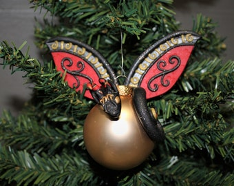 Black and Gold Polymer Clay Dragon Christmas Ornament