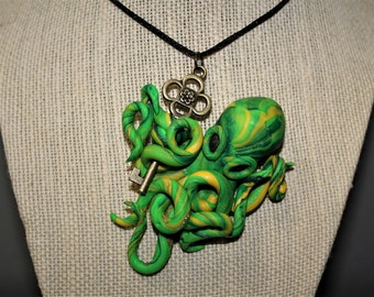 Green Octopus Necklace Pendant Polymer Clay