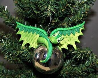 Green Dragon Ornament Christmas Polymer Clay