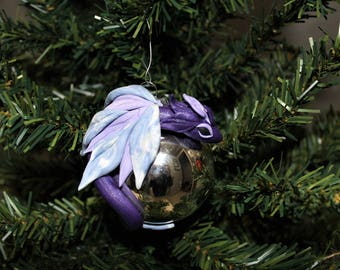 Purple and Silver Dragon Christmas Ornament Polymer Clay