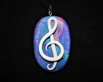 Treble Clef Music Polymer Clay Necklace Pendant