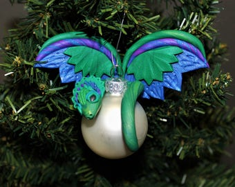 Green Blue and Purple Dragon Ornament Polymer Clay