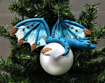 Turquoise Blue Dragon Christmas Ornament Polymer Clay