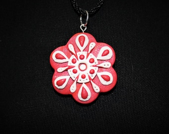 Snowflake Polymer Clay Necklace Pendant