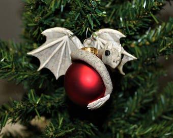 Stone Grey Gargoyle Dragon Christmas Ornament Polymer Clay