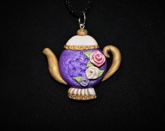 Purple Teapot Necklace Pendant Polymer Clay