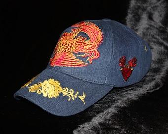 Shanghai Flower Denim Women Baseball Cap Flower Design Embroidery Urban  Glam Rock Rebel Chic Hat 060fc7ad0461