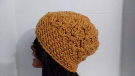Crochet Hat Womens Beanie Beanie Hat Slouchy Hat Mustard  e95ee2af77f