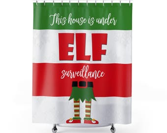 Elf Christmas Shower Curtain Holiday Fabric Cool Curtains On A Shelf Ideas Gift