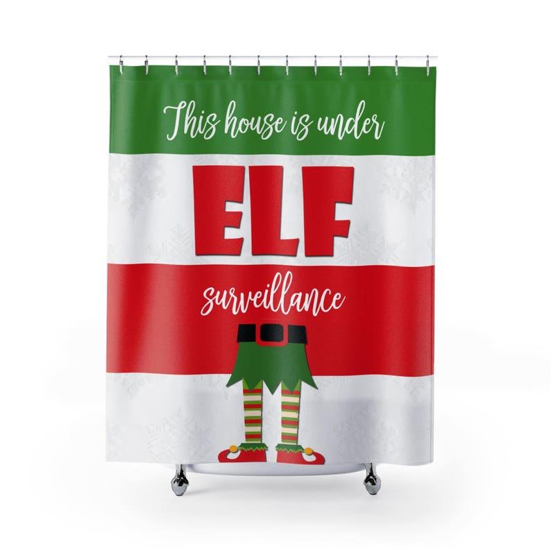 Elf Christmas Shower Curtain Holiday Fabric