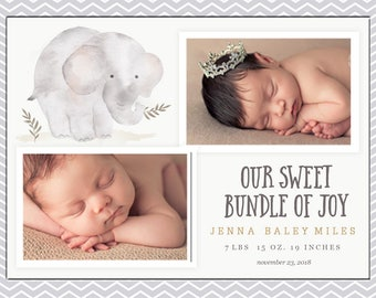 Our Sweet Bundle of Joy Elephant Template, Birth Announcement, Gray, Chevron,pregnancy reveal, baby stats, trending now, best selling items